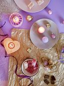Decorative Composition In A Pink Color From Burning Candles, Decorative Lanterns, Oriental Sweets On poster