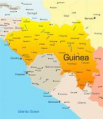 stock photo of freetown  - Abstract vector color map of Guinea country - JPG
