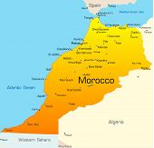 Abstract vector color map of Morocco country