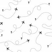 Airplane Dotted Flight Line Seamless Pattern. Plane Flying Path. Travel Concept Vector Wallpaper. Ai poster