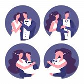 Couples In Love, Wedding Couples Vector Icons. Illustration Of Love Couple, Wedding Wife And Groom poster