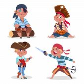 Cartoon Character Boys Pirates Vector Isolated On White Background. Pirate Character Boy, Costume Pi poster