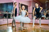 Group Of Three Little Ballet Dancers In Tutu Standing In Poses On The Dance Hall. Young Ballet Dance poster