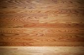 Empty Hardwood Wall And Floor With Centered Spotlight. poster