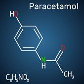 Paracetamol (acetaminophen) Drug Molecule. Structural Chemical Formula And Molecule Model On The Dar poster