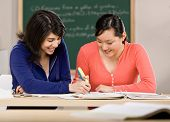 Determined student with text books helping friend do homework in school classroom