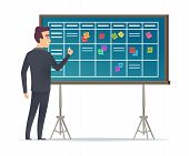 Business Schedule Board. Businessman Standing Near Checklist And Planning Teams Work Plans Calendar  poster