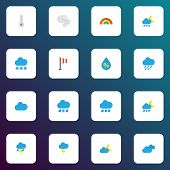 Climate Icons Flat Style Set With Moon, Clouds, Rainbow And Other Cloud Elements. Isolated Vector Il poster