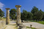 stock photo of olympic stadium construction  - Ancient Olympia the cradle of the Olympic games in Greece - JPG