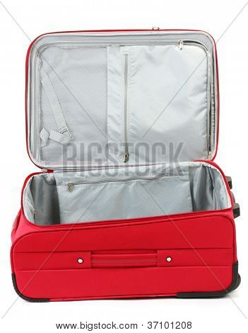 Opened empty red suitcase isolated on white