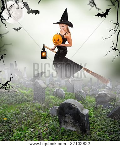Beautiful sorceress flying on broom on graveyard. isolated on white background