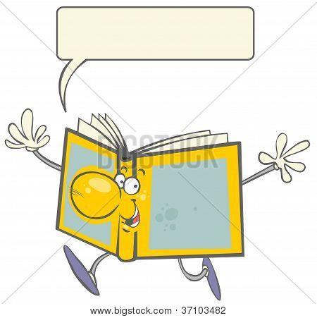 Funny cartoon gesticulating Book.