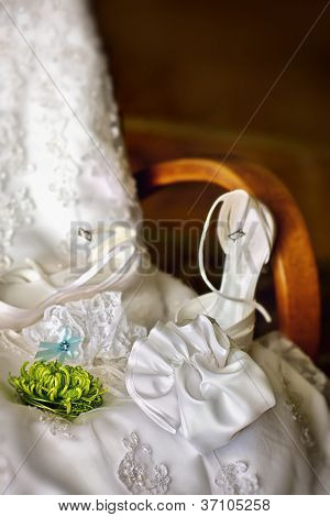 Wedding dress, garter and shoes