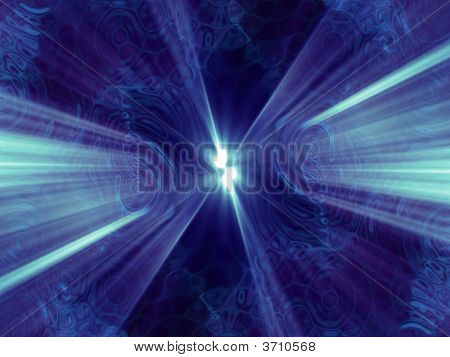 Fantasy Blue Alien Abstract With Blue Rays
