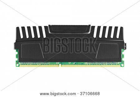 Single ddr3 ram module with heat spreader isolated on white.