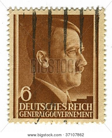 GERMANY - CIRCA 1943: A stamp printed in Germany shows image of Adolf Hitler was an Austrian-born German politician and the leader of the Nazi Party, in brown, circa 1943.