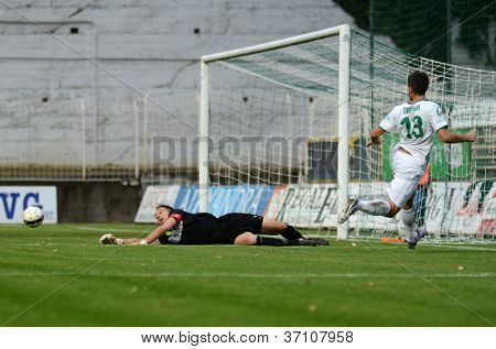 KAPOSVAR, HUNGARY - SEPTEMBER 14: Szabolcs Balajcza (goalkeeper in action at a Hungarian Championship soccer game - Kaposvar (white) vs Ujpest (purple) on September 14, 2012 in Kaposvar, Hungary.