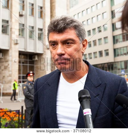 MOSCOW - 15 SEPTEMBER: One of the opposition leaders, former first deputy prime minister Boris Nemtsov, during an anti-Putin protest in central on September 15, 2012 in Moscow.