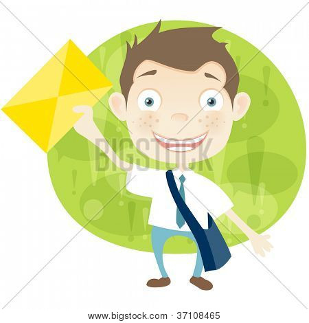 Cartoon Character Cute Teenager Isolated on White Background. Postman. Vector EPS 10.
