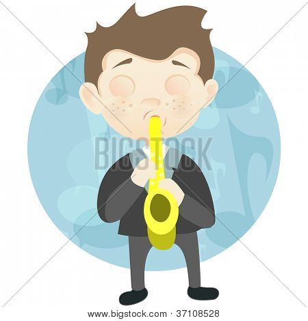 Cartoon Character Cute Teenager Isolated on White Background. Saxophonist. Vector EPS 10.