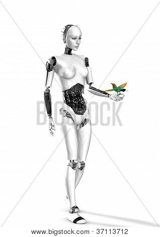 cyber robot woman with a bird