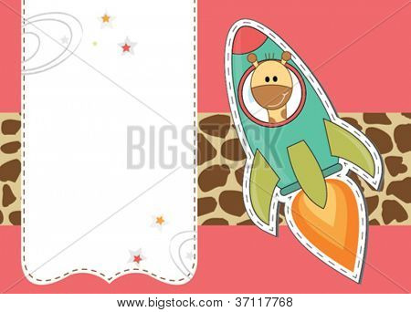 Cute giraffe in rocket gift card