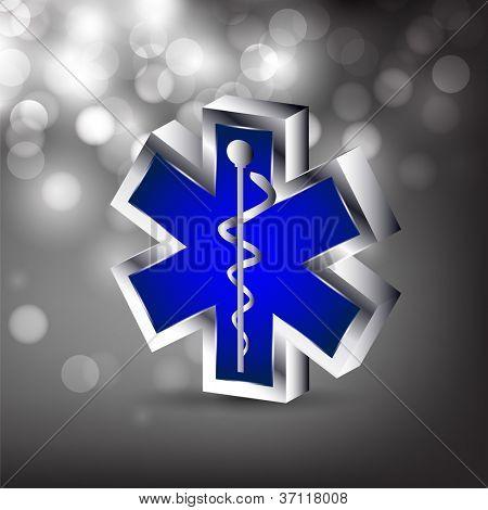 Resumen antecedentes médicos con símbolo médico del caduceo 3D. EPS 10.