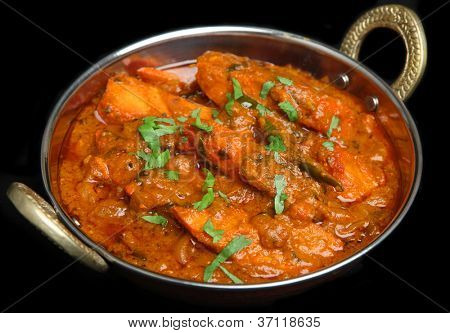 Indian chicken tikka jalfrezi curry in balti dish