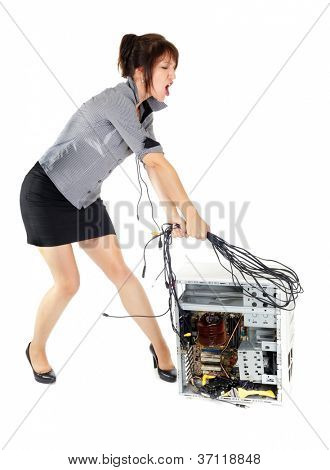 furious business woman whipping computer with cables