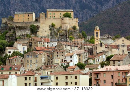 Corte mountain village in Corsica island, France