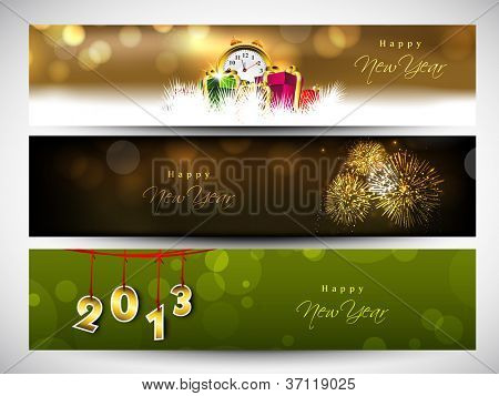 New year website header or banner set decorated with snowflakes, lights and gifts. EPS 10.