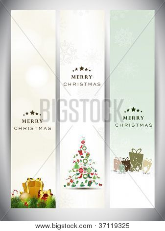 Merry Christmas website banner set decorated with Xmas tree, gifts, snowflakes and lights. EPS 10.