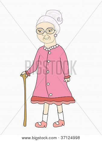 Old Lady - Vector Illustration