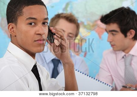 Young executive making a phone call