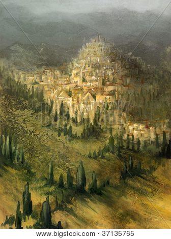 Painted Mediterranean Landscape