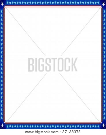 illustrated image of empty picture frame with stars and stripes border