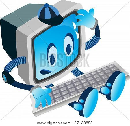 vector image of a computer with face, hands and legs