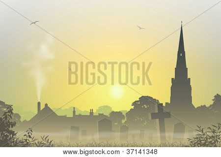 A Misty Country Landscape with Church Spire, Cemetery and Tombstones
