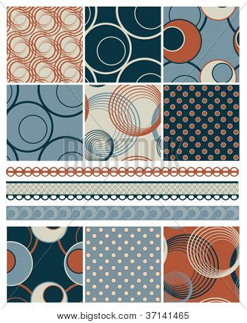 Contemporary Circle Seamless Patterns.  Use to create patchwork pieces for quilts or digital paper for craft projects.