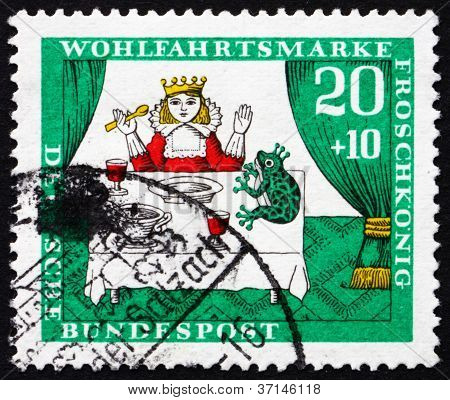 Postage stamp Germany 1964 Princess and Frog, Scene from The Pri