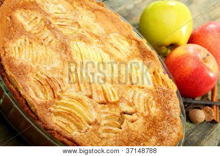 Alsatian Apple Pie Closeup.