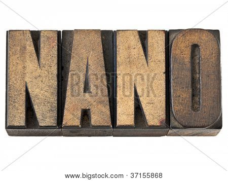 nano word (one billionth prefix or very small scale) - isolated text in vintage letterpress wood type