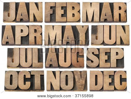 12 months from January to December - a collage of isolated 3 letter symbols in vintage letterpress wood type blocks