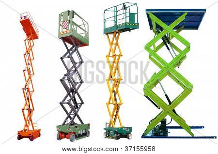 The image of lifting machines under the white background