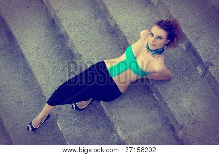 Sexy Girl Lying On Stairs
