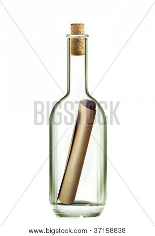 ancient scroll message in the bottle on white background with path