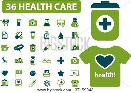 36 health & medicine icons set vector