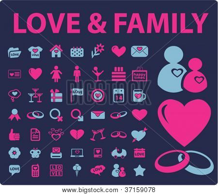 love & family icons set, vector