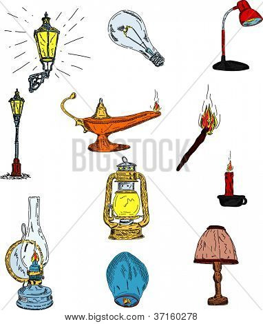 vector - set of old historic lightings isolated on background
