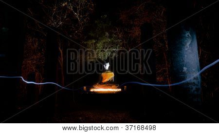 Buddha Statue In Sukhothai Historical Park (light Painting Technique)